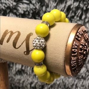 Jewelry - BRIGHT YELLOW FASHION BRACELET WITH RHINESTONES